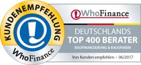 Jörg Strack von Dr. Klein wurde von Who Finance als einer der 400 besten Berater für Baufinanzierungen ausgezeichnet.